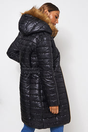 Tiana Black Fur Trim Coat