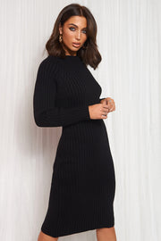 Black Cut Out Twist Jumper Midi Dress