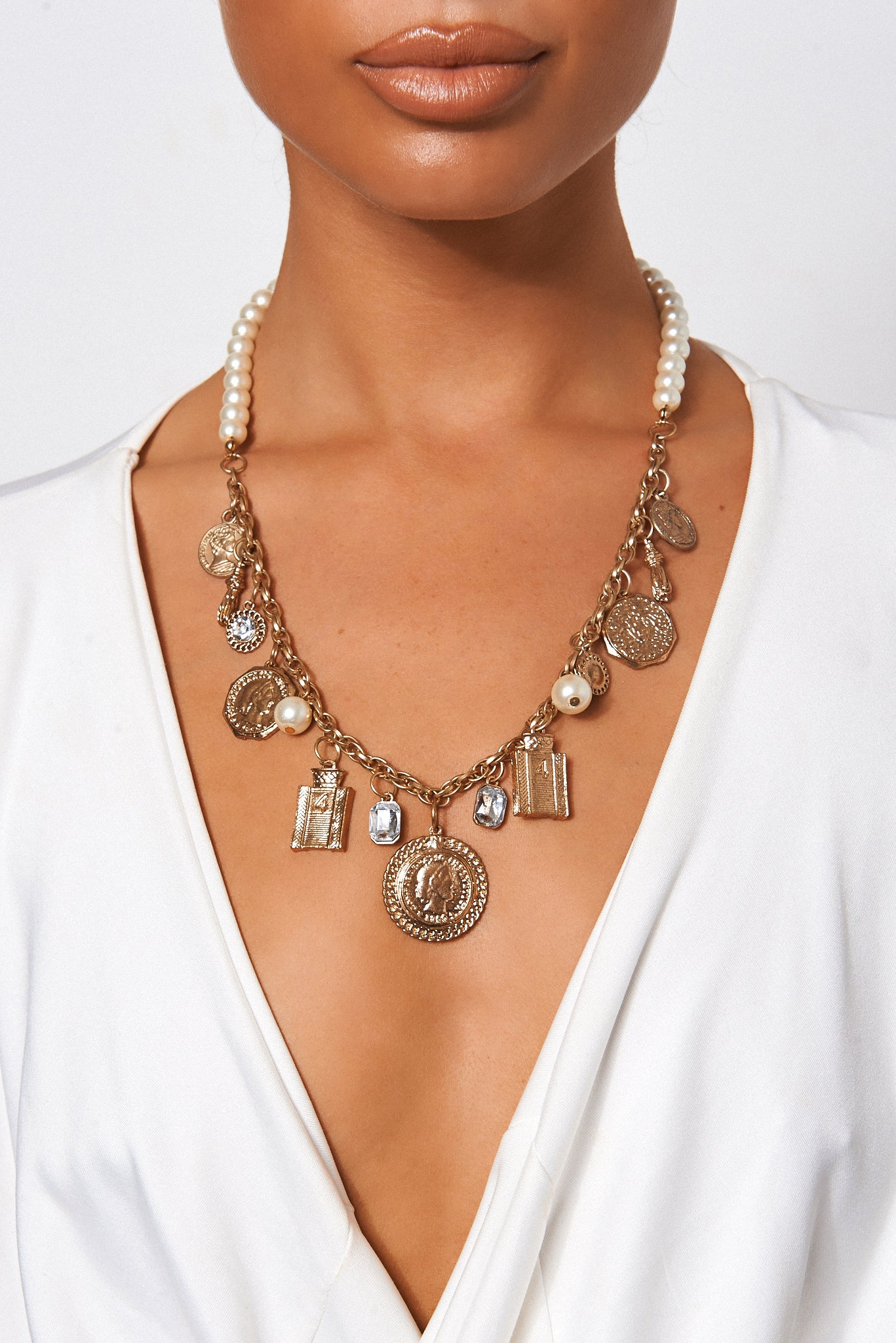 Vintage Style Pearl Charm Necklace