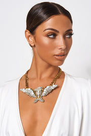 Golden Eagle Embellished Bib Necklace