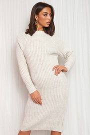 Beige Cut Out Twist Jumper Midi Dress
