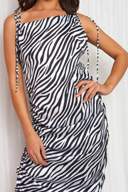 Black & White Zebra Print Ruched Midi Dress