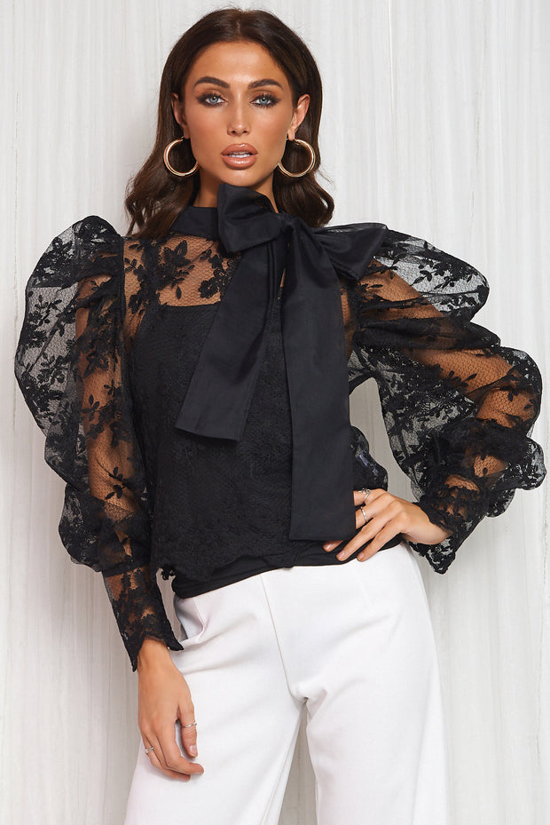 Black Lace Pussy Bow Blouse