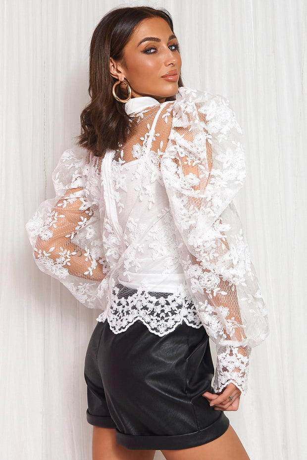 White Lace Pussy Bow Blouse