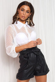 Black Faux Leather Paperbag Tie Waist Shorts