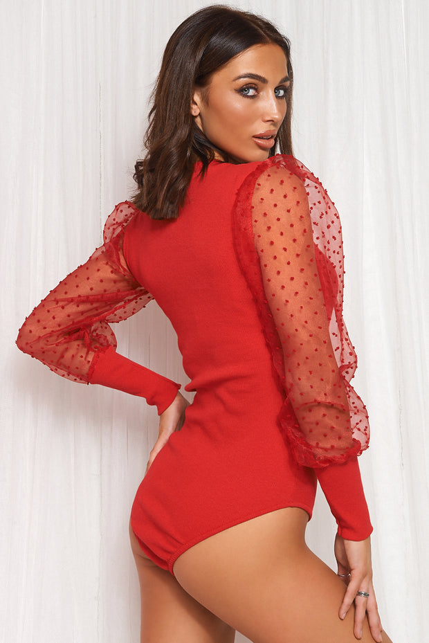 Red Dobby Mesh Sleeve Bodysuit