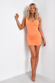 Diablo Orange Backless Ruched Bodycon Dress