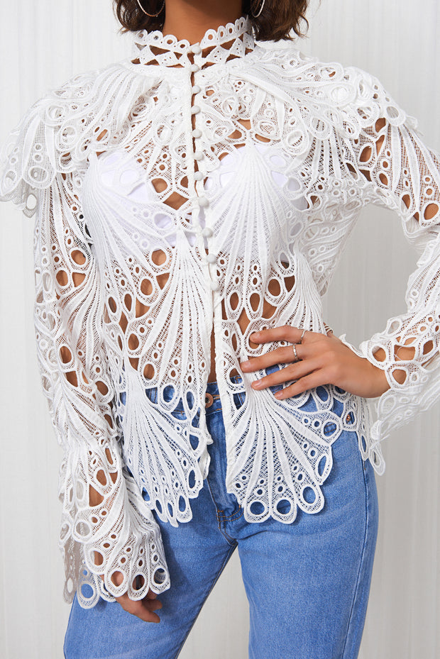 White Crochet Shirt