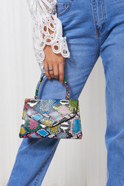 Multicoloured Snakeskin Envelope Bag