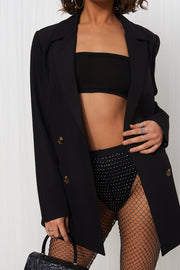 Black Mesh Rhinestone Diamante Trousers