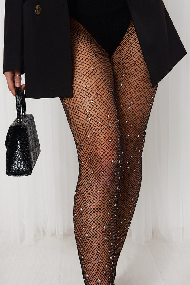 Black Rhinestone Jewelled Fishnet Tights