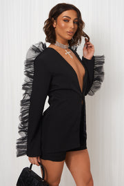 Lia Black Frill Sleeve Blazer Jacket & Short Set
