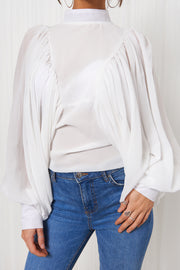 White Chiffon Angel Sleeve Blouse