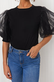 Black Organza Puff Sleeve T-Shirt