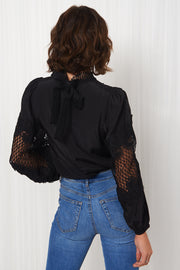 Black Crochet Puff Sleeve Blouse