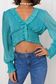 Jade Green Dobby Long Sleeve Crop Top