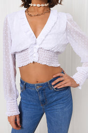 White Dobby Long Sleeve Crop Top