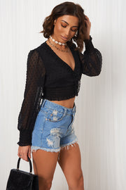 Black Dobby Long Sleeve Crop Top