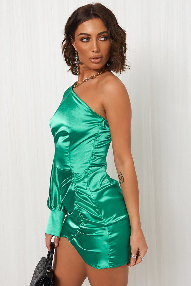 Green Satin One Shoulder Ruched Mini Dress
