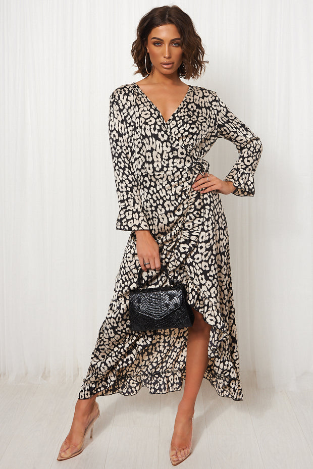 Black Dalmatian Print Wrap Maxi Dress