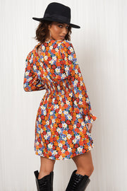 Mia Orange Floral Skater Dress