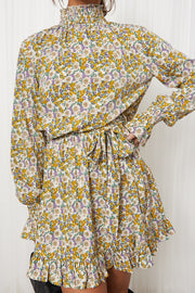 Yellow Floral High Neck Shift Dress