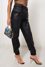 Black Leather Buckle Belt purse Joggers