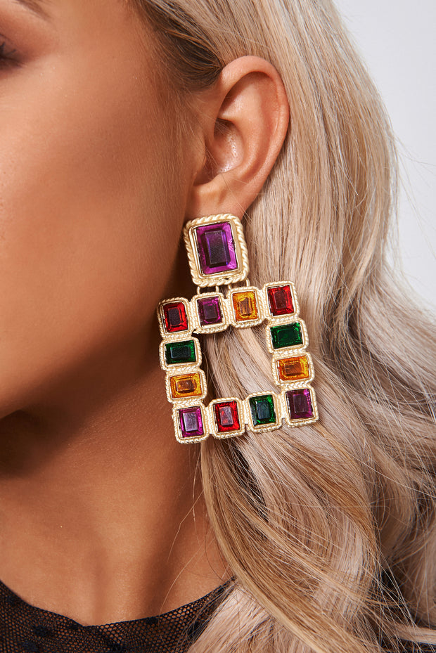 Multicoloured Gold Statement Earrings