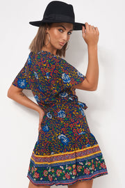 Tiki Navy Floral Wrap Dress