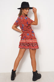 Tiki Red Floral Wrap Dress
