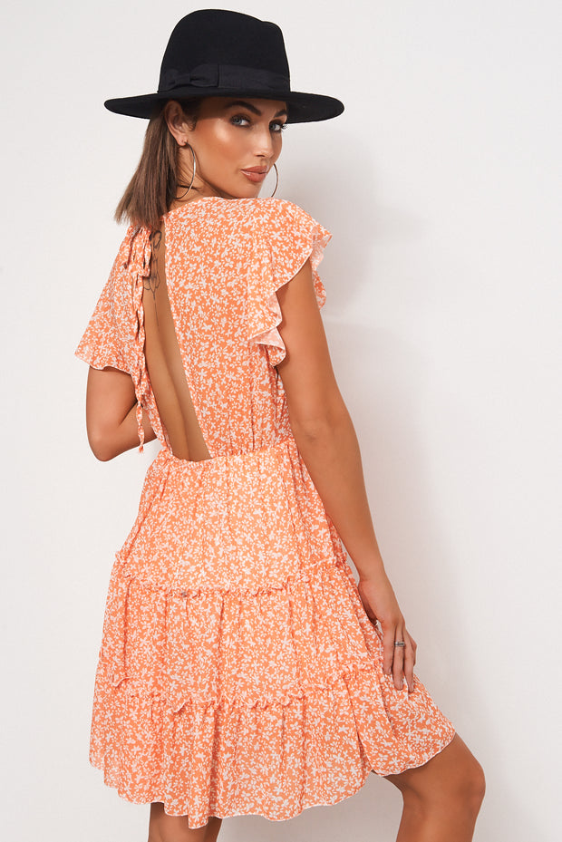 Darna Orange Floral Shift Dress