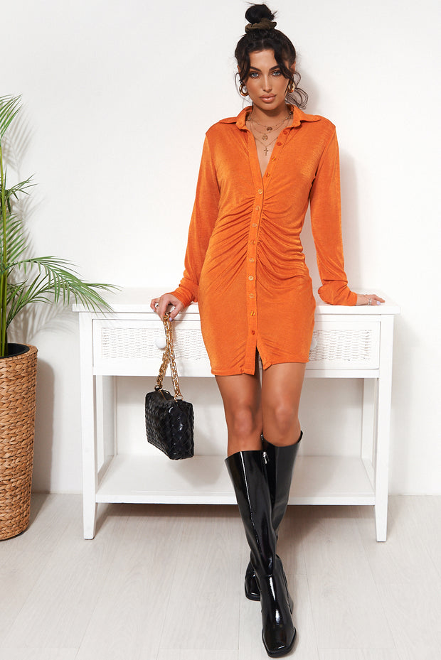 Tama Orange Shirt Dress