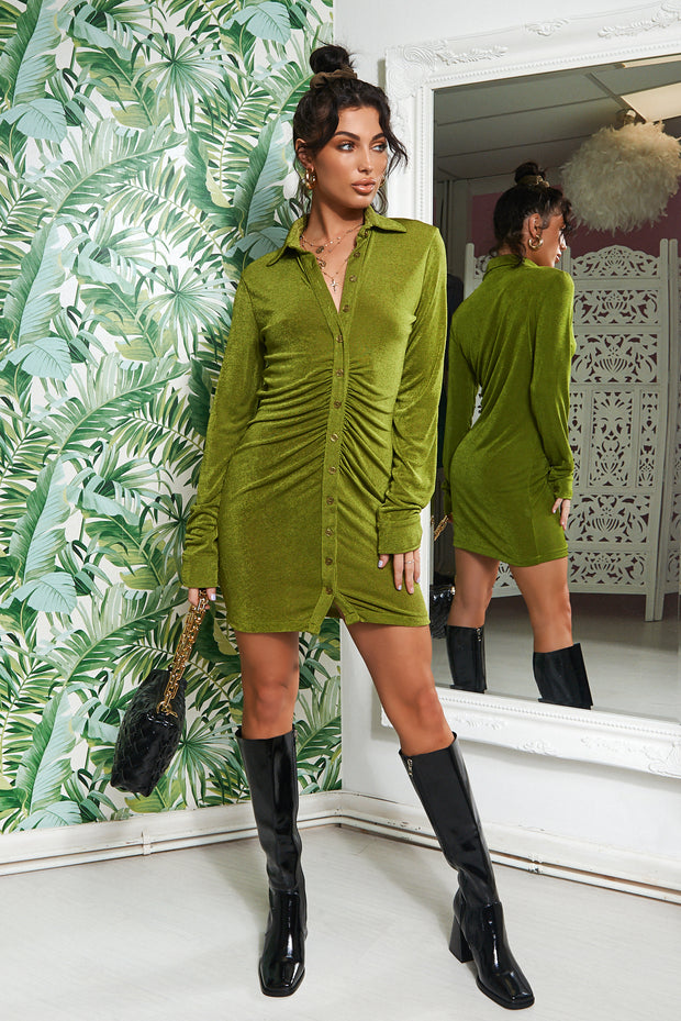 Tama Green Shirt Dress