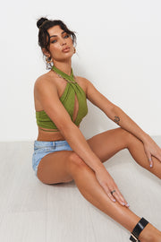 Kinley Green Halter Neck Top