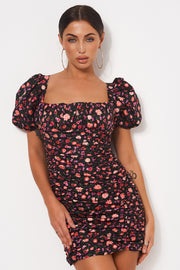 Black Floral Ruched Bodycon Dress