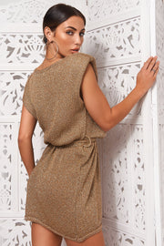 Gold Glitter Knitted Dress