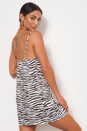 White Zebra Print Slip Dress