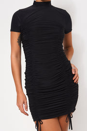 Elsa Black Ruched Slinky Bodycon Dress
