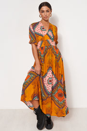 Margo Orange Print Maxi Dress