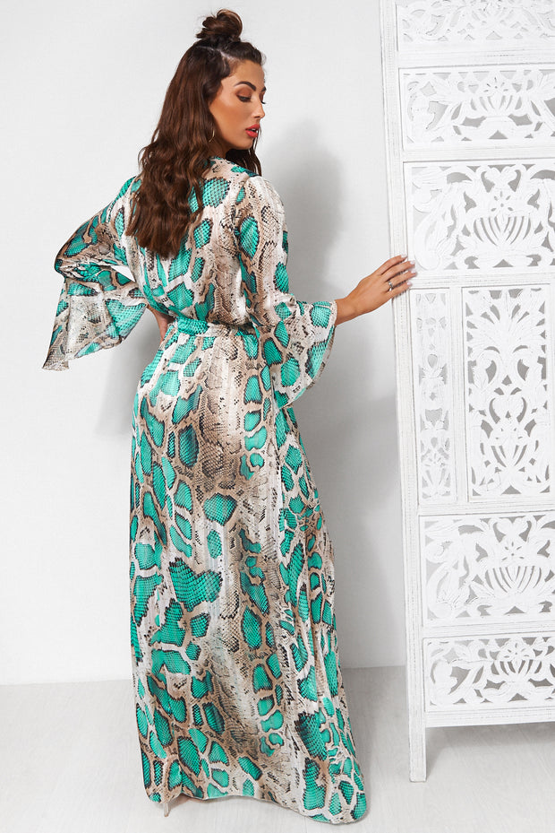 Turquoise Snakeskin Maxi Dress