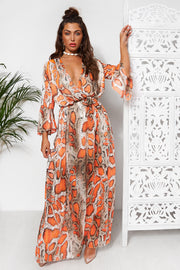 Orange Snakeskin Maxi Dress