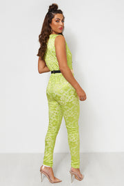 Tiki Lime Green Lace Jumpsuit