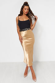 Gold Satin Midi Skirt