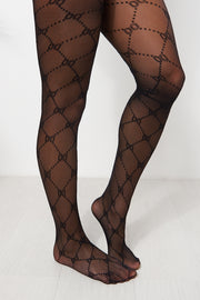 Black Patterned Tights