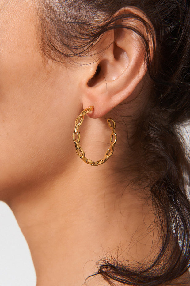 Gold Plated Chain Hoop Earrings