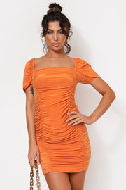 Lira Orange Ruched Bodycon Dress