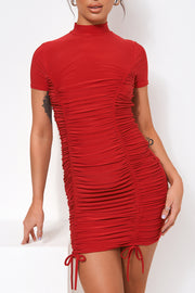 Elsa Red Ruched Slinky Bodycon Dress