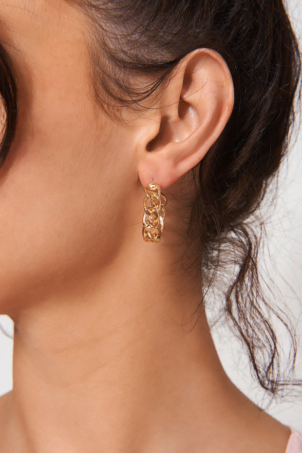 Dina Gold Plated Chunky Chain Earrings