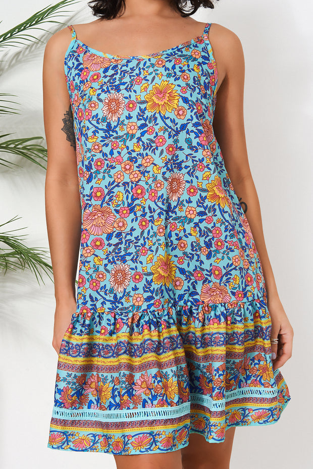 Adi Blue Floral Smock Dress