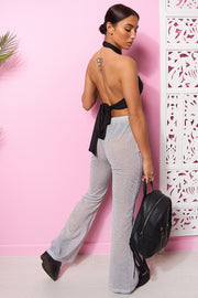 Silver Sparkle Flared Trousers